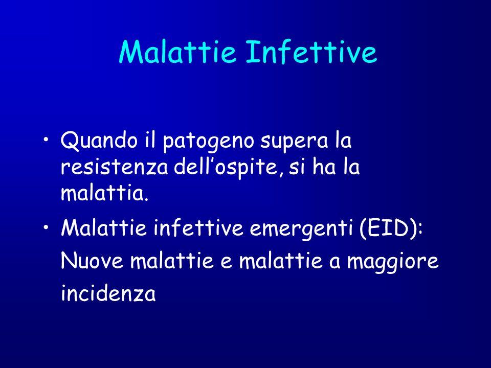 Quando il patogeno supera la resistenza dellospite, si ha la malattia. Malattie infettive emergenti (EID): Nuove malattie e malattie a maggiore incide