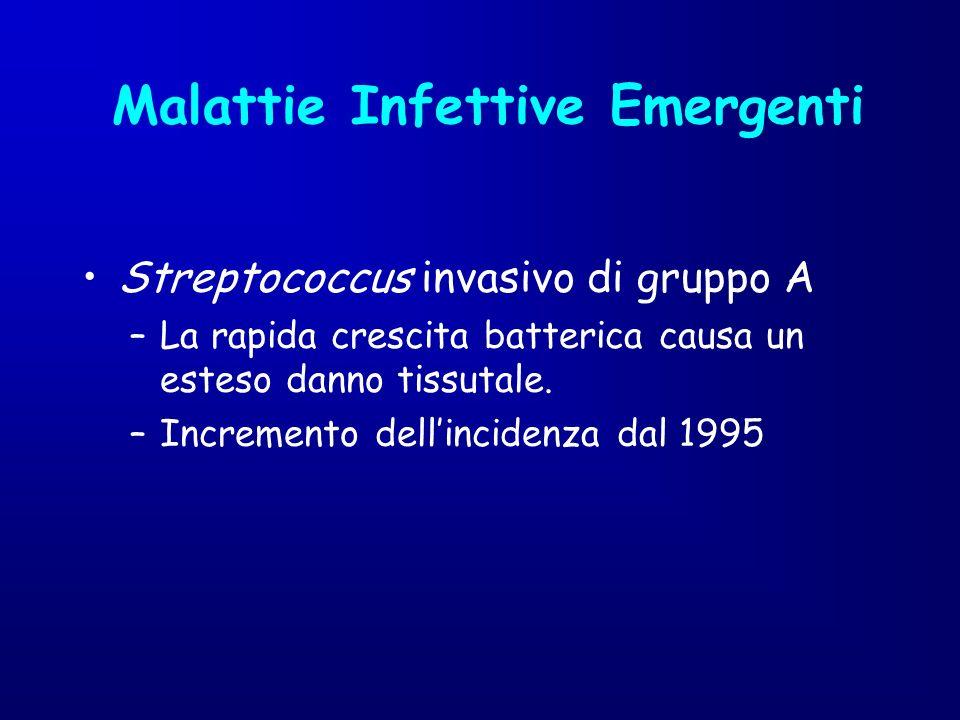 Streptococcus invasivo di gruppo A –La rapida crescita batterica causa un esteso danno tissutale. –Incremento dellincidenza dal 1995 Malattie Infettiv