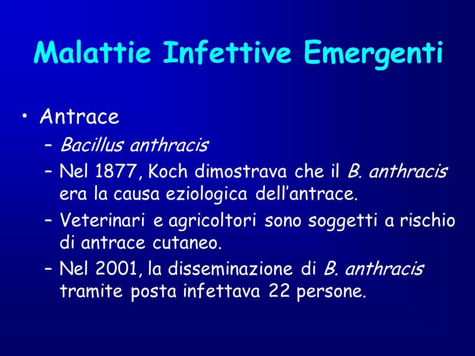 Antrace –Bacillus anthracis –Nel 1877, Koch dimostrava che il B. anthracis era la causa eziologica dellantrace. –Veterinari e agricoltori sono soggett
