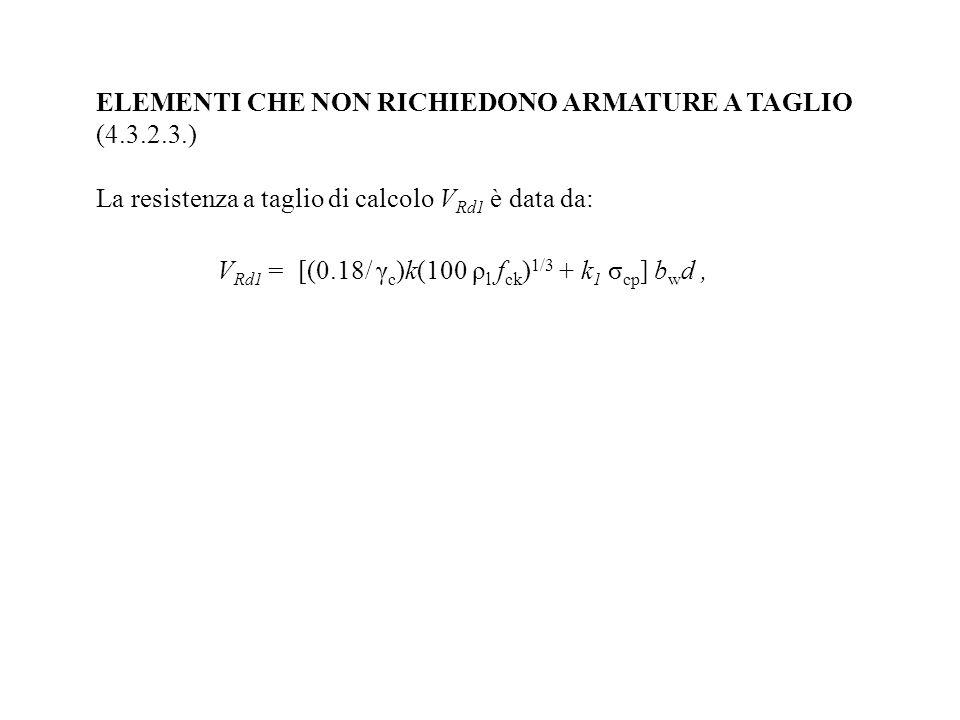 ELEMENTI CHE NON RICHIEDONO ARMATURE A TAGLIO (4.3.2.3.) La resistenza a taglio di calcolo V Rd1 è data da: V Rd1 = [(0.18/ γ c )k(100 ρ l f ck ) 1/3
