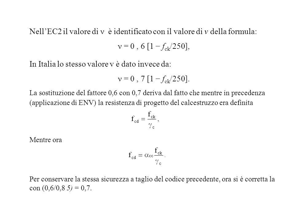 NellEC2 il valore di ν è identificato con il valore di v della formula: ν = 0, 6 [1 f ck /250], In Italia lo stesso valore v è dato invece da: ν = 0,