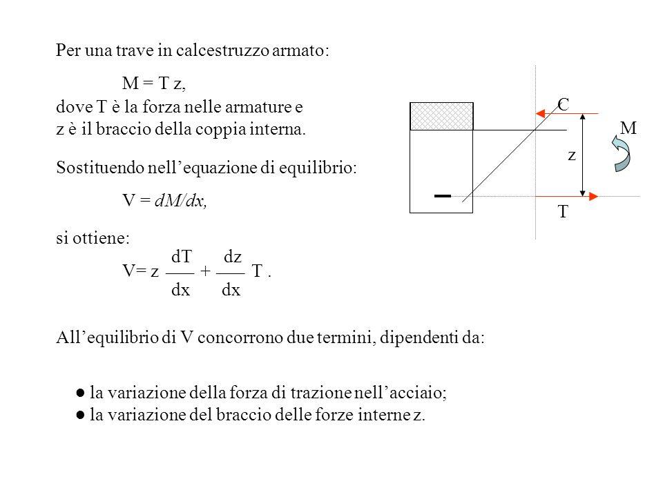 Per una trave in calcestruzzo armato: M = T z, dove T è la forza nelle armature e z è il braccio della coppia interna. Sostituendo nellequazione di eq
