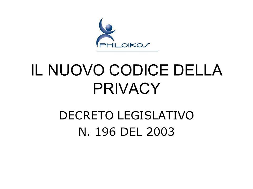 IL NUOVO CODICE DELLA PRIVACY DECRETO LEGISLATIVO N. 196 DEL 2003