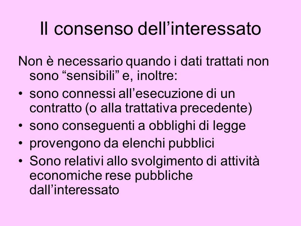 Il consenso dellinteressato Non è necessario quando i dati trattati non sono sensibili e, inoltre: sono connessi allesecuzione di un contratto (o alla