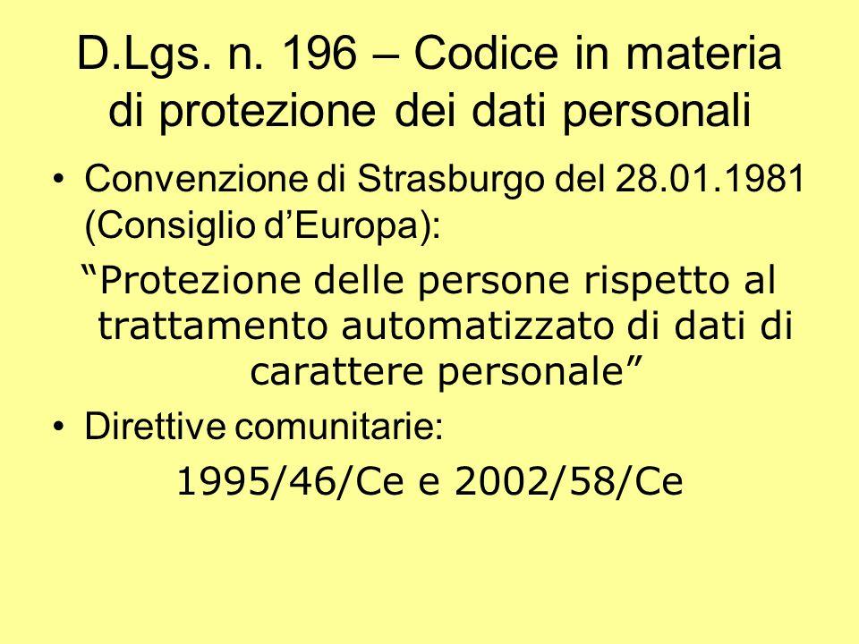 D.Lgs. n. 196 – Codice in materia di protezione dei dati personali Convenzione di Strasburgo del 28.01.1981 (Consiglio dEuropa): Protezione delle pers