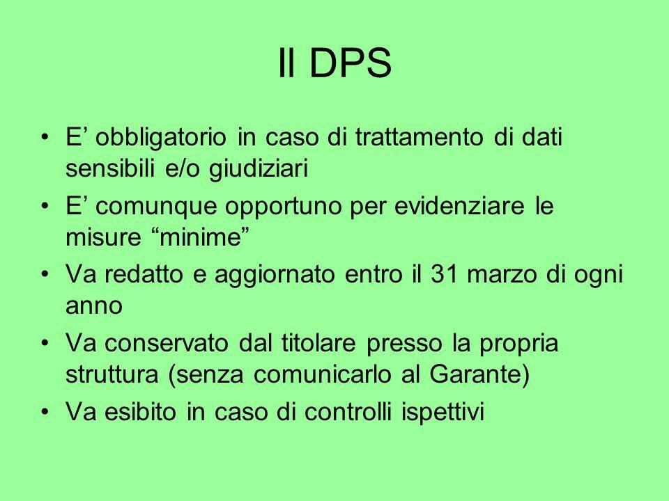 Il DPS E obbligatorio in caso di trattamento di dati sensibili e/o giudiziari E comunque opportuno per evidenziare le misure minime Va redatto e aggio