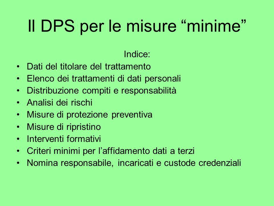 Il DPS per le misure minime Indice: Dati del titolare del trattamento Elenco dei trattamenti di dati personali Distribuzione compiti e responsabilità