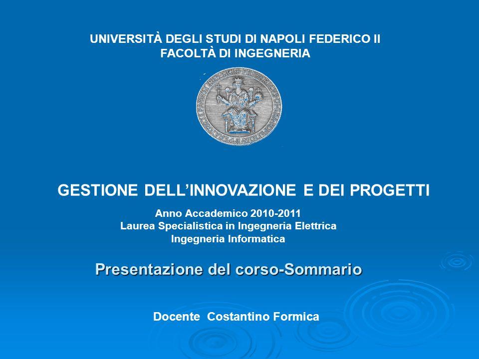 UNIVERSITÀ DEGLI STUDI DI NAPOLI FEDERICO II FACOLTÀ DI INGEGNERIA GESTIONE DELLINNOVAZIONE E DEI PROGETTI Docente Costantino Formica Anno Accademico