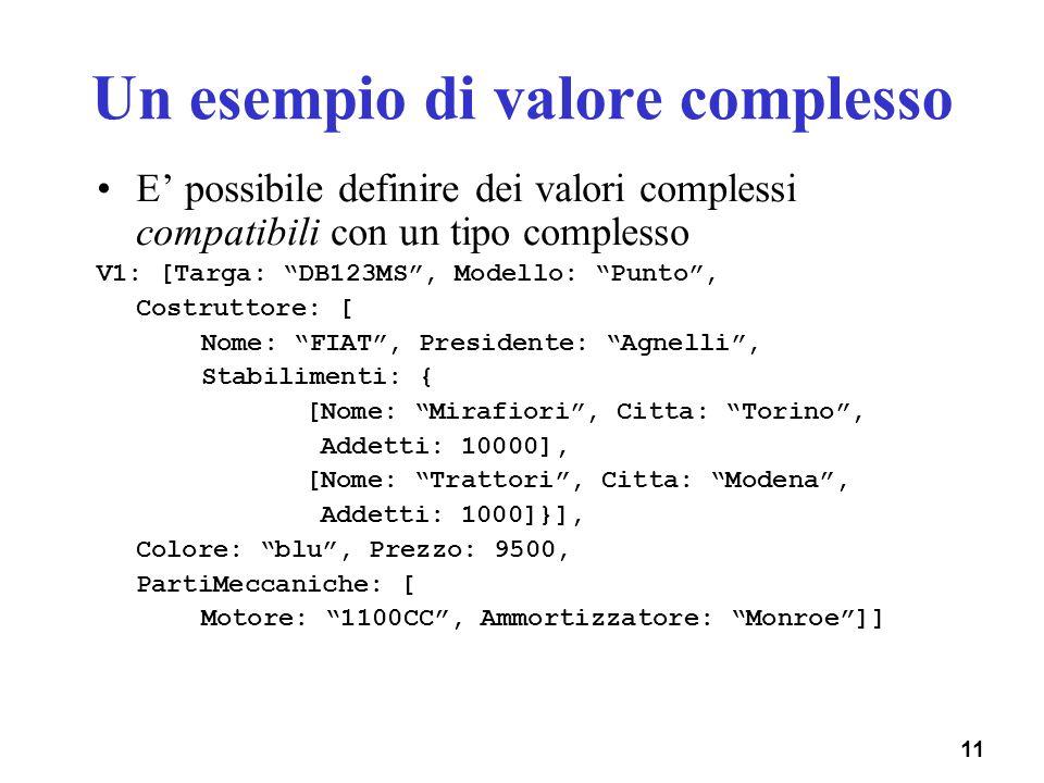 11 Un esempio di valore complesso E possibile definire dei valori complessi compatibili con un tipo complesso V1: [Targa: DB123MS, Modello: Punto, Cos