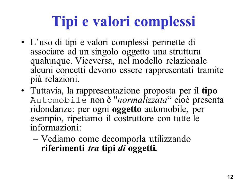 12 Tipi e valori complessi Luso di tipi e valori complessi permette di associare ad un singolo oggetto una struttura qualunque. Viceversa, nel modello