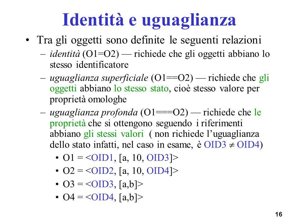 16 Identità e uguaglianza Tra gli oggetti sono definite le seguenti relazioni –identità (O1=O2) richiede che gli oggetti abbiano lo stesso identificat