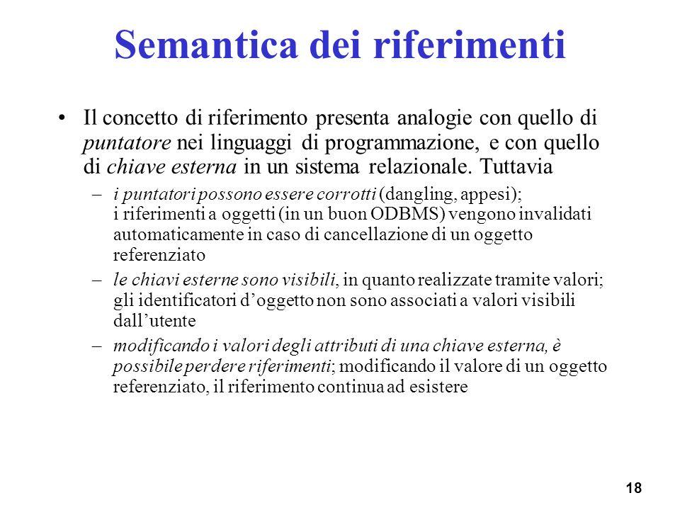 18 Semantica dei riferimenti Il concetto di riferimento presenta analogie con quello di puntatore nei linguaggi di programmazione, e con quello di chi