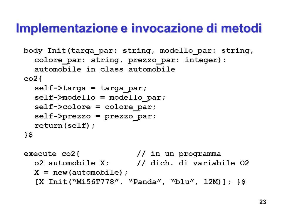 23 Implementazione e invocazione di metodi body Init(targa_par: string, modello_par: string, colore_par: string, prezzo_par: integer): automobile in c
