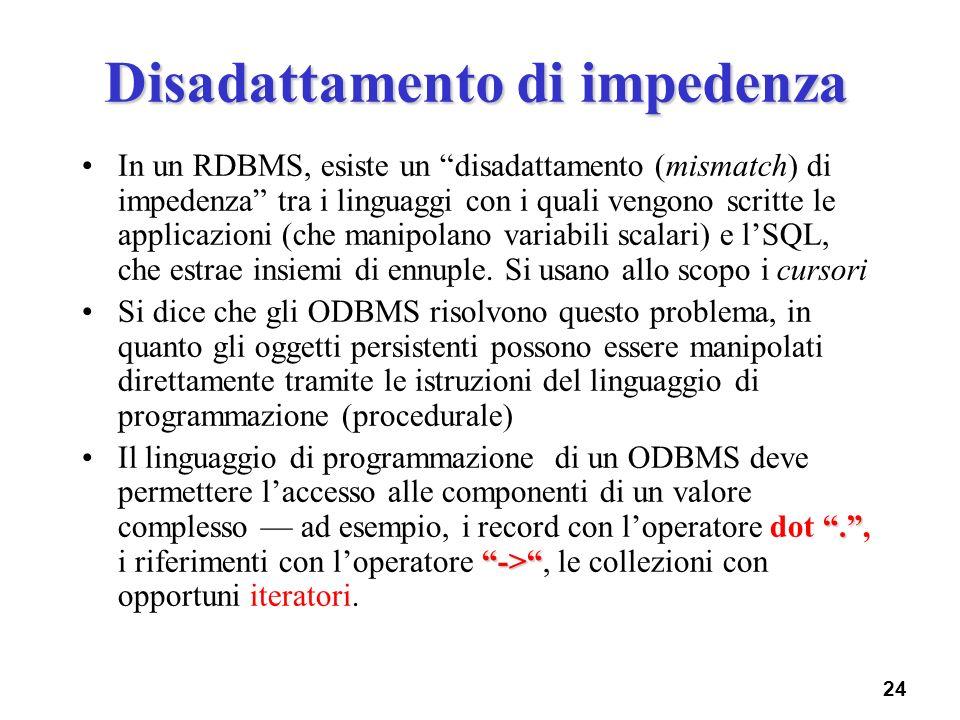 24 Disadattamento di impedenza In un RDBMS, esiste un disadattamento (mismatch) di impedenza tra i linguaggi con i quali vengono scritte le applicazio