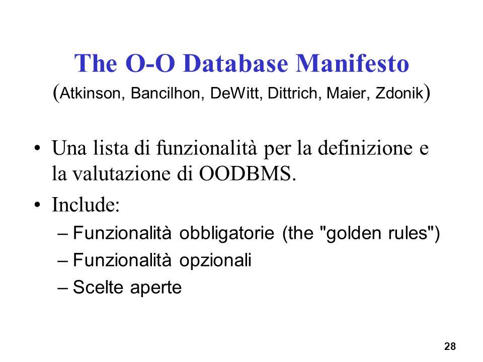 28 The O-O Database Manifesto ( Atkinson, Bancilhon, DeWitt, Dittrich, Maier, Zdonik ) Una lista di funzionalità per la definizione e la valutazione d