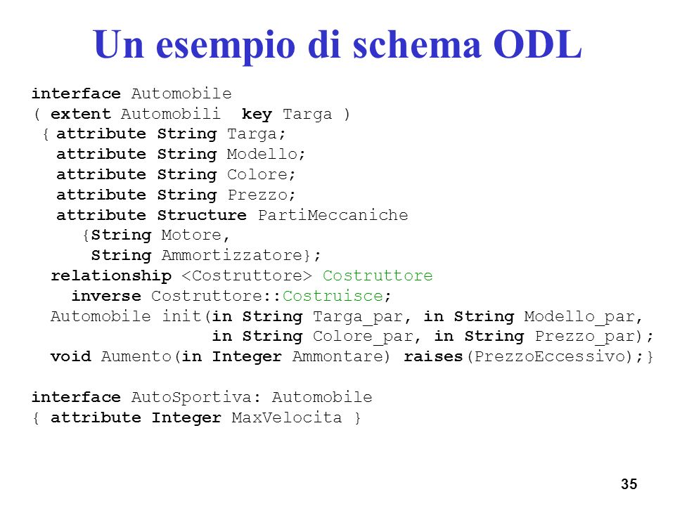 35 Un esempio di schema ODL interface Automobile ( extent Automobili key Targa ) {attribute String Targa; attribute String Modello; attribute String C
