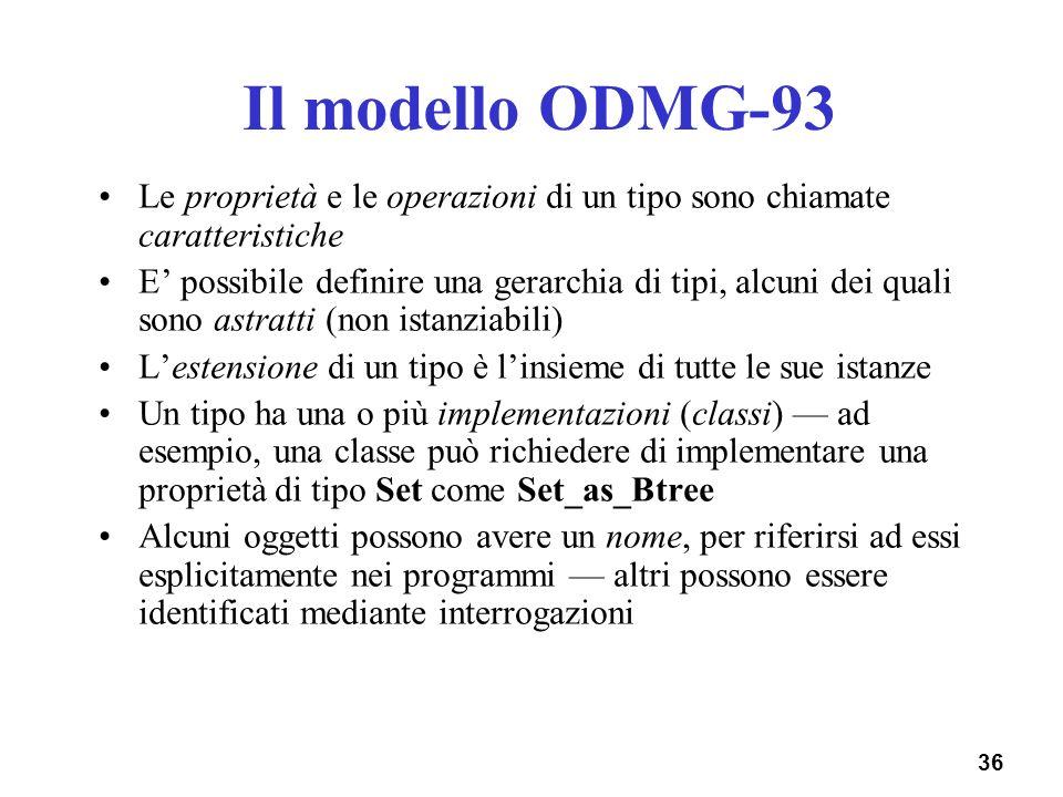 36 Il modello ODMG-93 Le proprietà e le operazioni di un tipo sono chiamate caratteristiche E possibile definire una gerarchia di tipi, alcuni dei qua