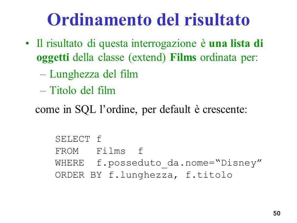 50 Ordinamento del risultato Il risultato di questa interrogazione è una lista di oggetti della classe (extend) Films ordinata per: –Lunghezza del fil