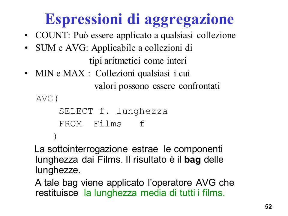 52 Espressioni di aggregazione COUNT: Può essere applicato a qualsiasi collezione SUM e AVG: Applicabile a collezioni di tipi aritmetici come interi M