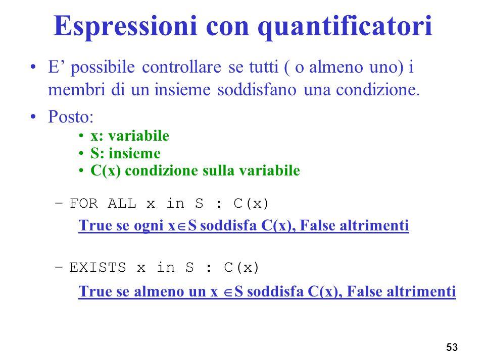 53 Espressioni con quantificatori E possibile controllare se tutti ( o almeno uno) i membri di un insieme soddisfano una condizione. Posto: x: variabi