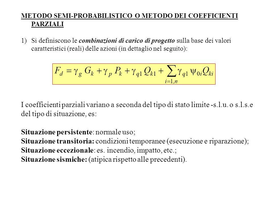 METODO SEMI-PROBABILISTICO O METODO DEI COEFFICIENTI PARZIALI 1)Si definiscono le combinazioni di carico di progetto sulla base dei valori caratterist