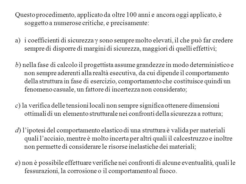 Questo procedimento, applicato da oltre 100 anni e ancora oggi applicato, è soggetto a numerose critiche, e precisamente: a)i coefficienti di sicurezz