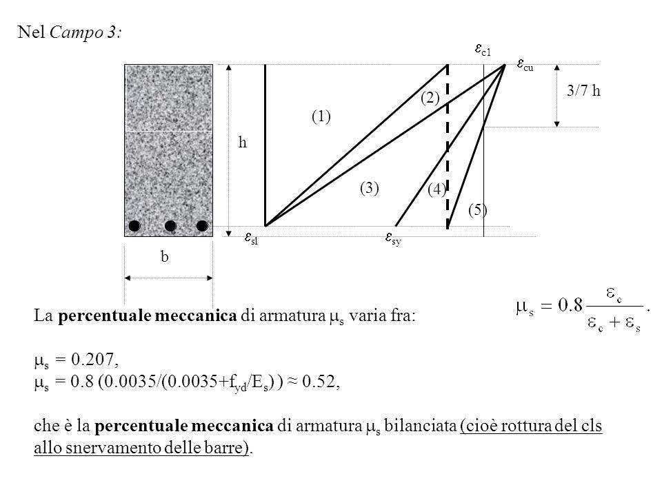 (1) (2) (3) sl sy cu c1 3/7 h h b (4) (5) Nel Campo 3: La percentuale meccanica di armatura s varia fra: s = 0.207, s = 0.8 (0.0035/(0.0035+f yd /E s