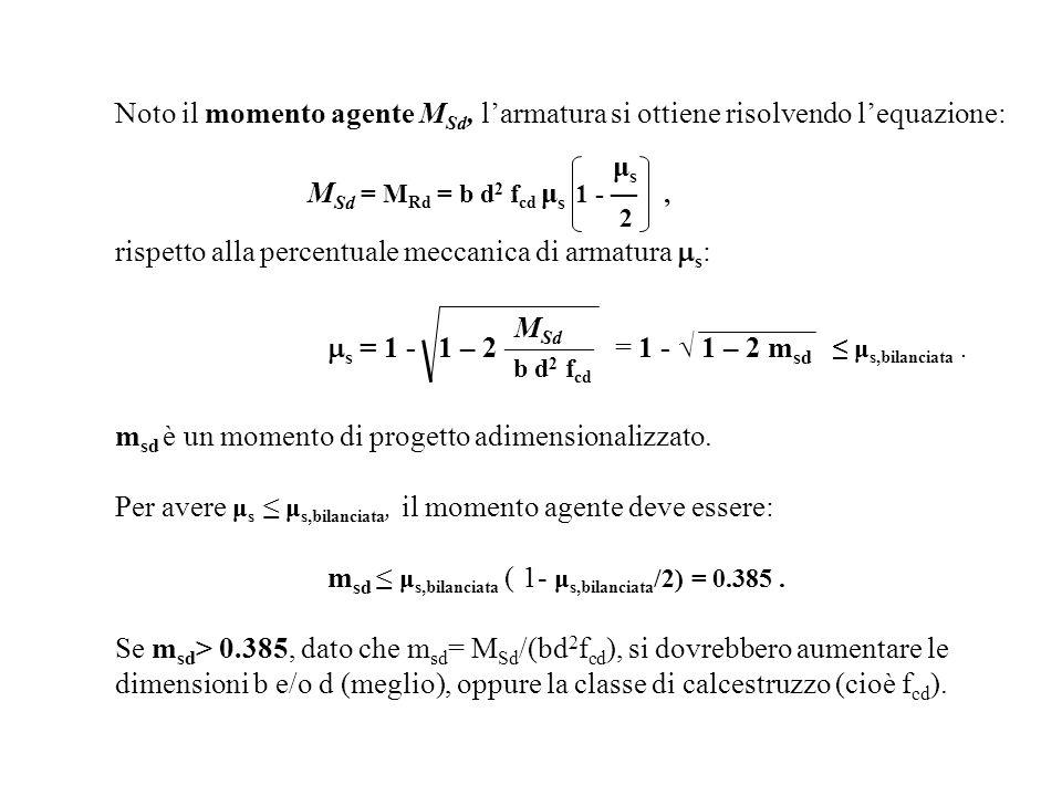 Noto il momento agente M Sd, larmatura si ottiene risolvendo lequazione: μ s M Sd = M Rd = b d 2 f cd μ s 1 -, 2 rispetto alla percentuale meccanica d