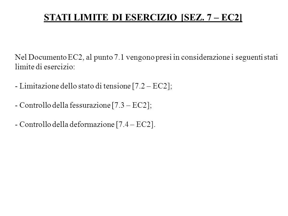 STATI LIMITE DI ESERCIZIO [SEZ. 7 – EC2] Nel Documento EC2, al punto 7.1 vengono presi in considerazione i seguenti stati limite di esercizio: - Limit
