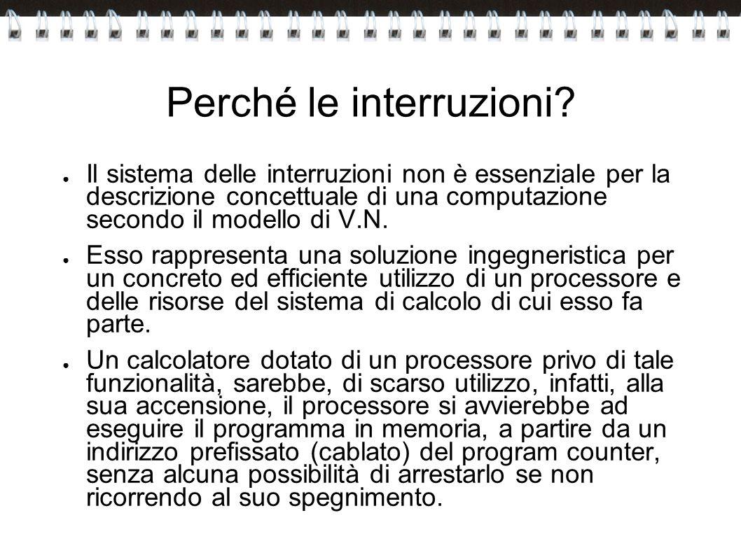 Perché le interruzioni? Il sistema delle interruzioni non è essenziale per la descrizione concettuale di una computazione secondo il modello di V.N. E