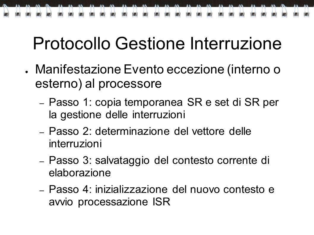 Protocollo Gestione Interruzione Manifestazione Evento eccezione (interno o esterno) al processore – Passo 1: copia temporanea SR e set di SR per la g