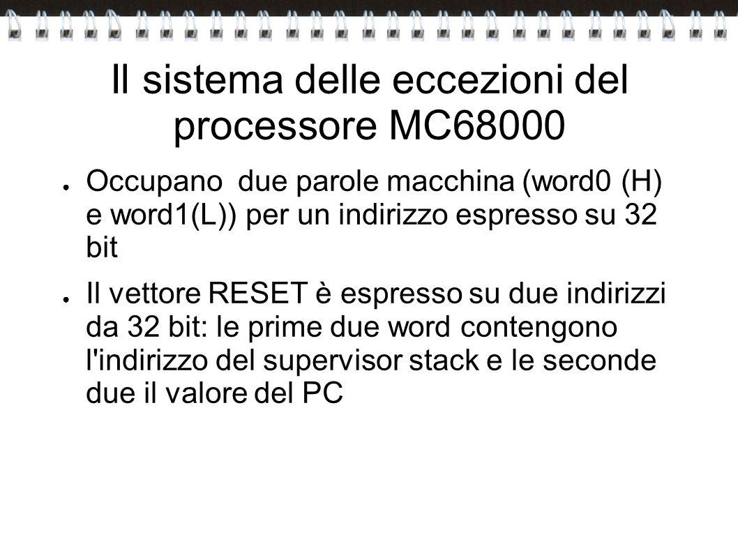 Il sistema delle eccezioni del processore MC68000 Occupano due parole macchina (word0 (H) e word1(L)) per un indirizzo espresso su 32 bit Il vettore R