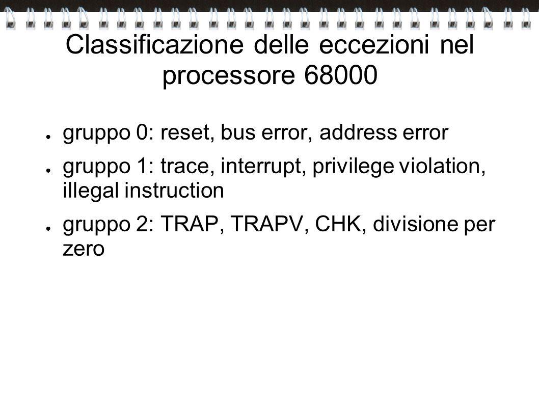 Classificazione delle eccezioni nel processore 68000 gruppo 0: reset, bus error, address error gruppo 1: trace, interrupt, privilege violation, illega