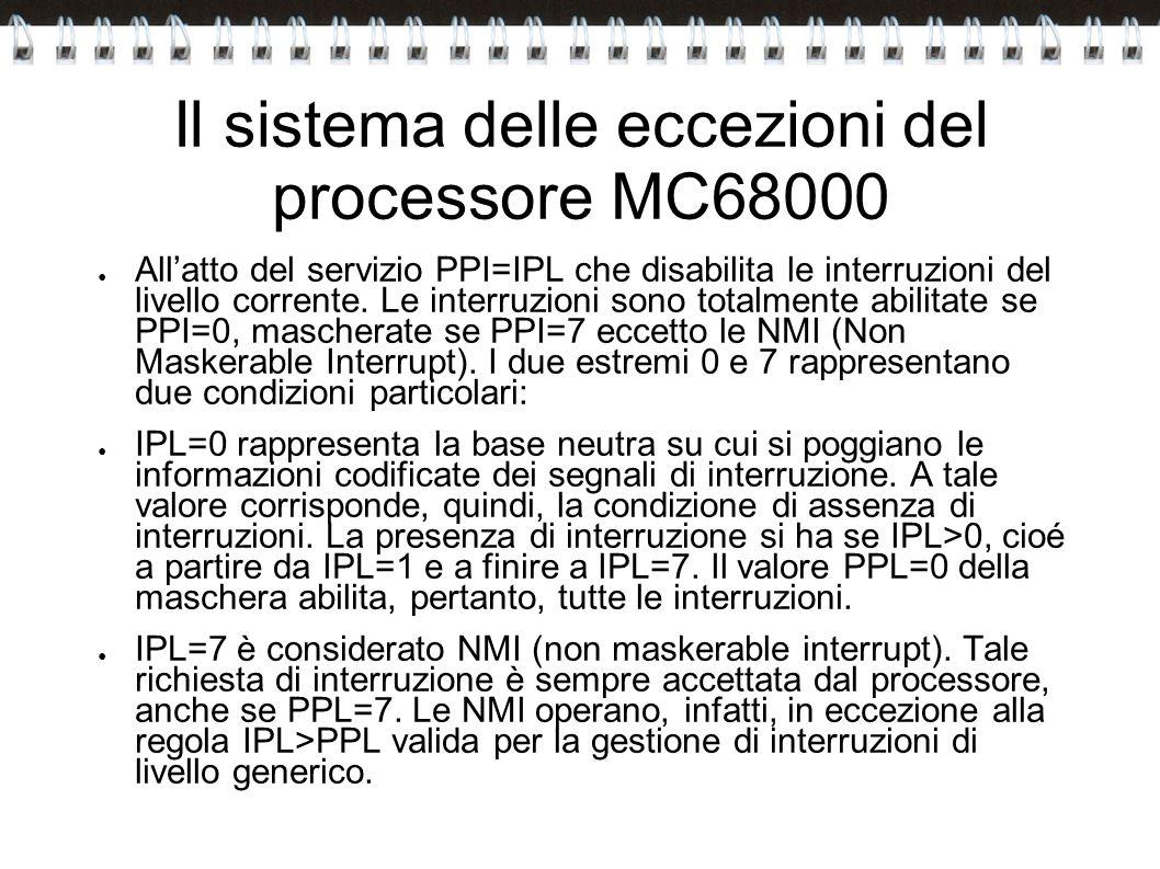 Il sistema delle eccezioni del processore MC68000 Allatto del servizio PPI=IPL che disabilita le interruzioni del livello corrente. Le interruzioni so