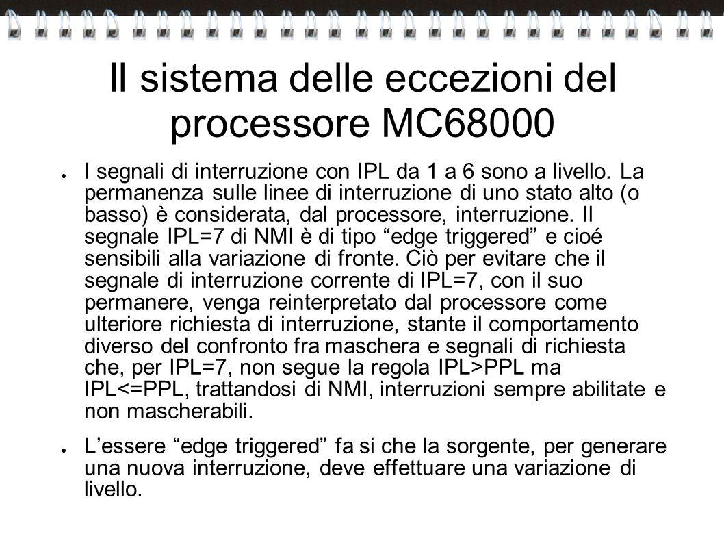 Il sistema delle eccezioni del processore MC68000 I segnali di interruzione con IPL da 1 a 6 sono a livello. La permanenza sulle linee di interruzione