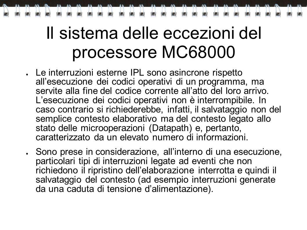 Il sistema delle eccezioni del processore MC68000 Le interruzioni esterne IPL sono asincrone rispetto allesecuzione dei codici operativi di un program