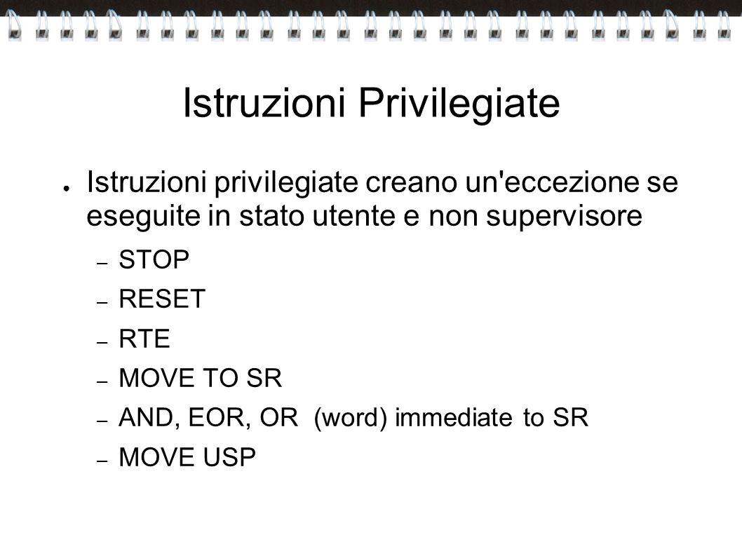 Istruzioni Privilegiate Istruzioni privilegiate creano un'eccezione se eseguite in stato utente e non supervisore – STOP – RESET – RTE – MOVE TO SR –