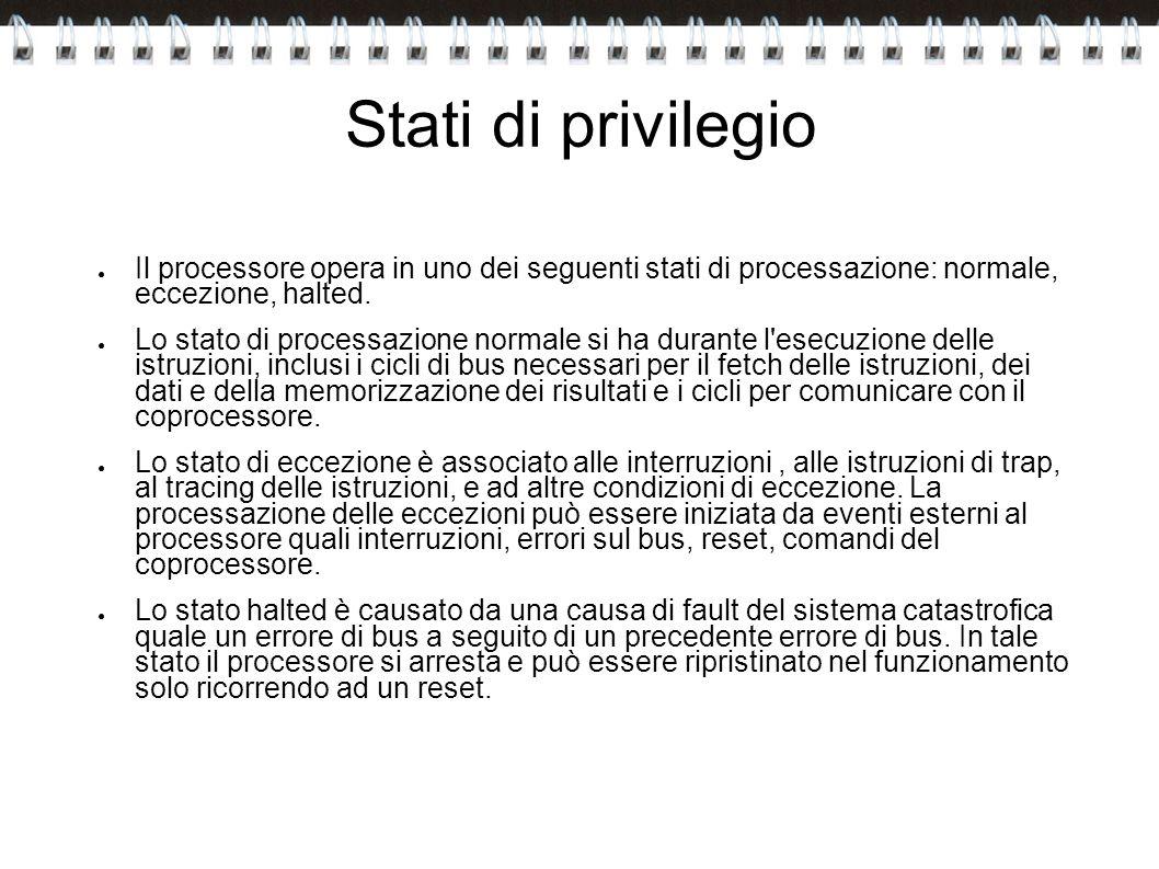 Stati di privilegio Il processore opera in uno dei seguenti stati di processazione: normale, eccezione, halted. Lo stato di processazione normale si h
