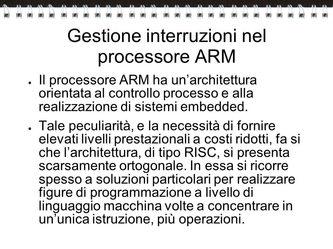 Gestione interruzioni nel processore ARM Il processore ARM ha unarchitettura orientata al controllo processo e alla realizzazione di sistemi embedded.