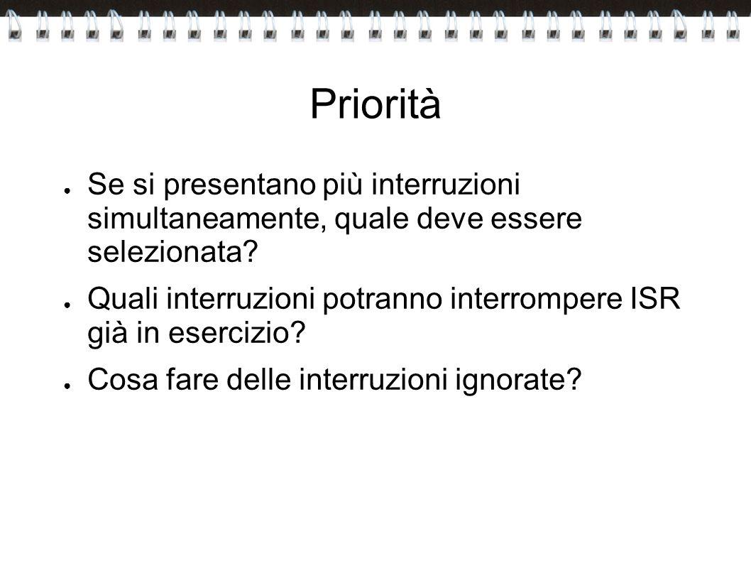 Priorità Se si presentano più interruzioni simultaneamente, quale deve essere selezionata? Quali interruzioni potranno interrompere ISR già in eserciz
