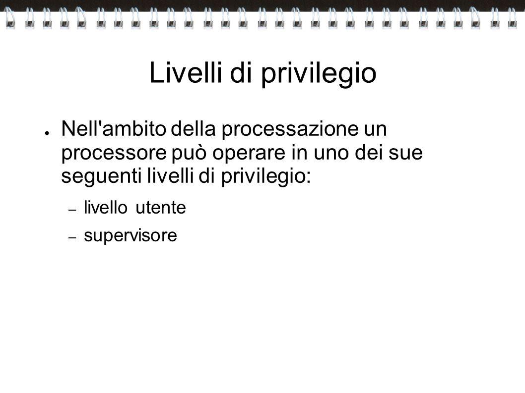Livelli di privilegio Nell'ambito della processazione un processore può operare in uno dei sue seguenti livelli di privilegio: – livello utente – supe
