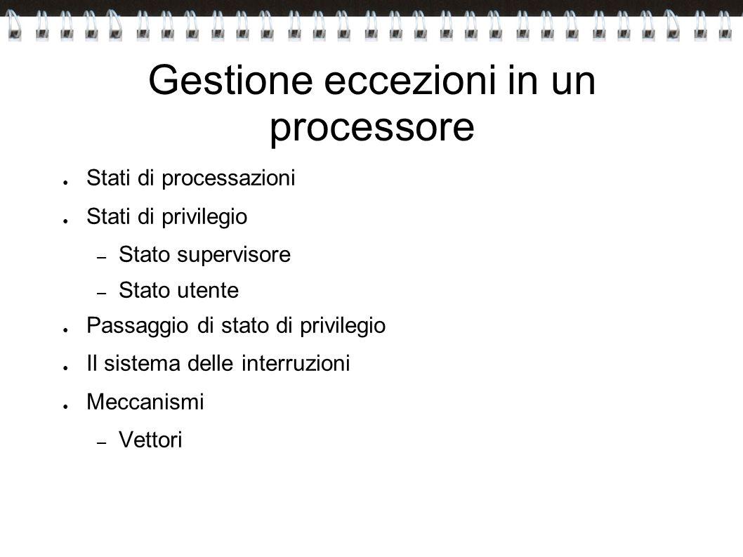 Gestione eccezioni in un processore Stati di processazioni Stati di privilegio – Stato supervisore – Stato utente Passaggio di stato di privilegio Il
