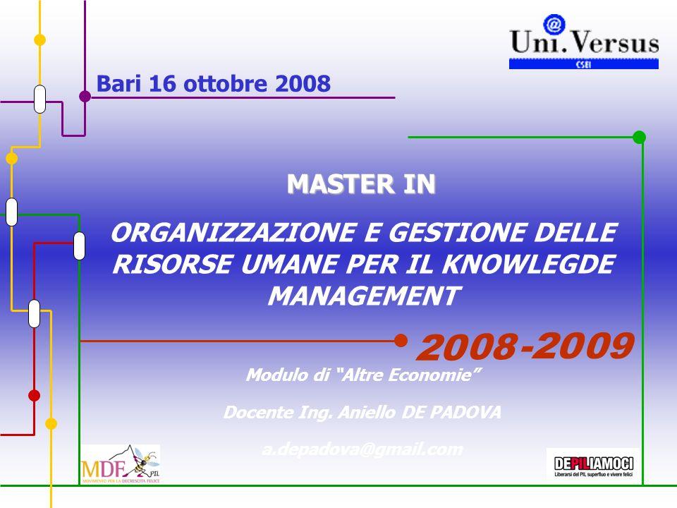 Bari 16 ottobre 2008 MASTER IN ORGANIZZAZIONE E GESTIONE DELLE RISORSE UMANE PER IL KNOWLEGDE MANAGEMENT Modulo di Altre Economie Docente Ing.