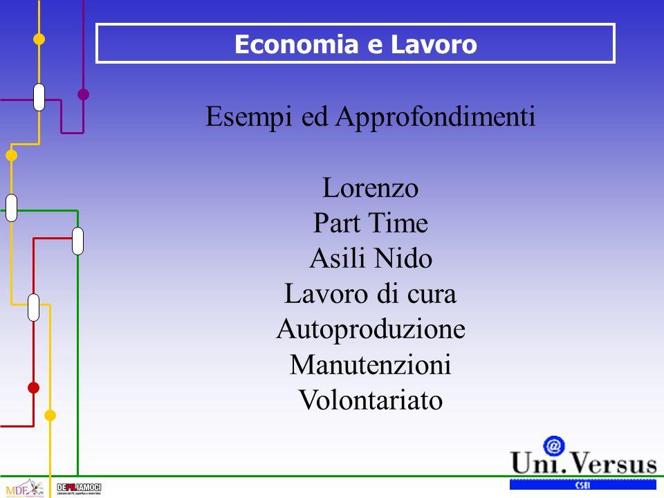 Economia e Lavoro Esempi ed Approfondimenti Lorenzo Part Time Asili Nido Lavoro di cura Autoproduzione Manutenzioni Volontariato