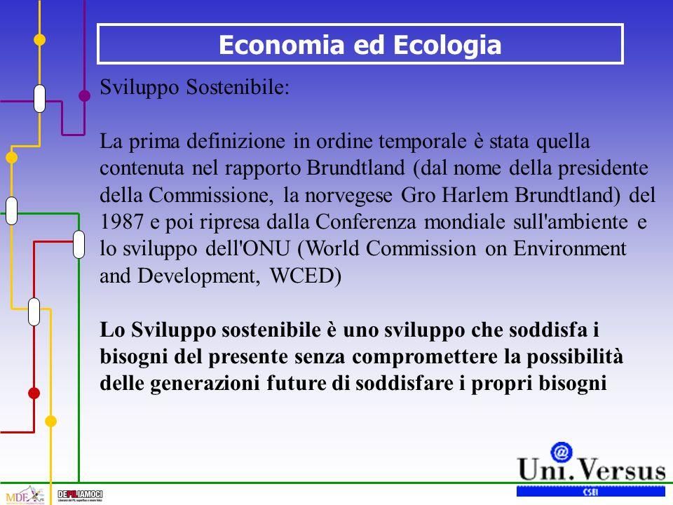 Economia ed Ecologia Sviluppo Sostenibile: La prima definizione in ordine temporale è stata quella contenuta nel rapporto Brundtland (dal nome della p
