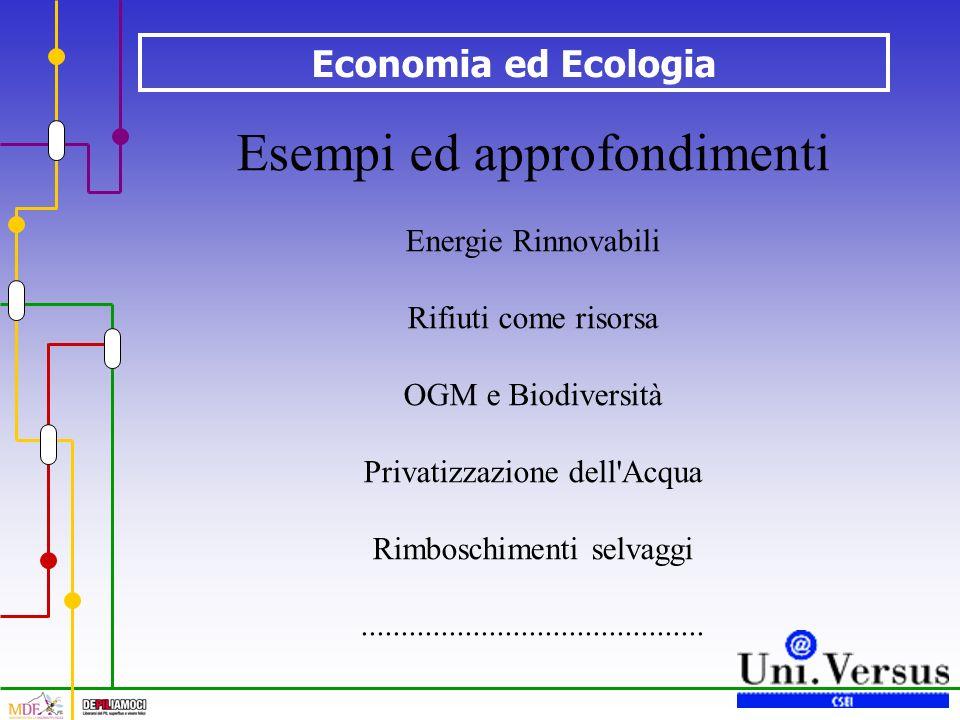 Economia ed Ecologia Esempi ed approfondimenti Energie Rinnovabili Rifiuti come risorsa OGM e Biodiversità Privatizzazione dell'Acqua Rimboschimenti s