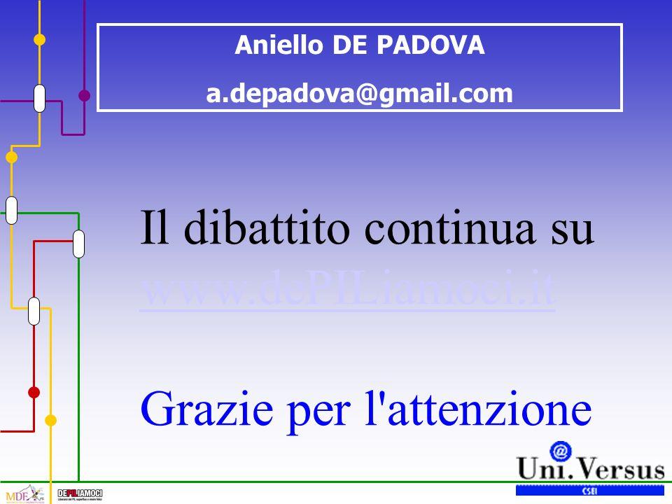 Aniello DE PADOVA a.depadova@gmail.com Il dibattito continua su www.dePILiamoci.it Grazie per l'attenzione
