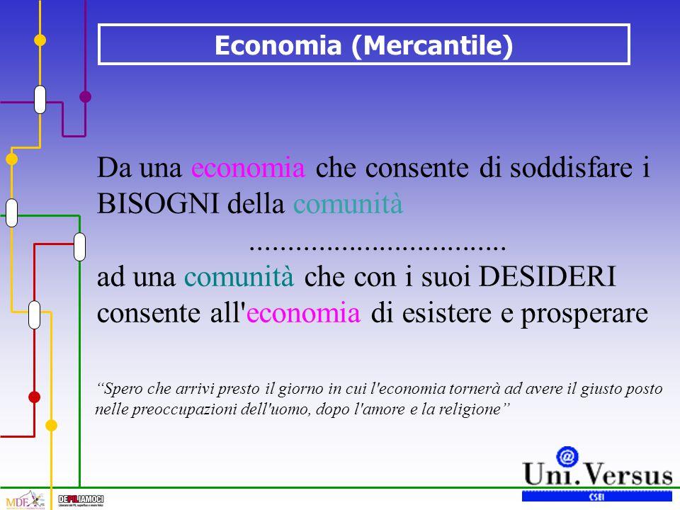 Da una economia che consente di soddisfare i BISOGNI della comunità..................................