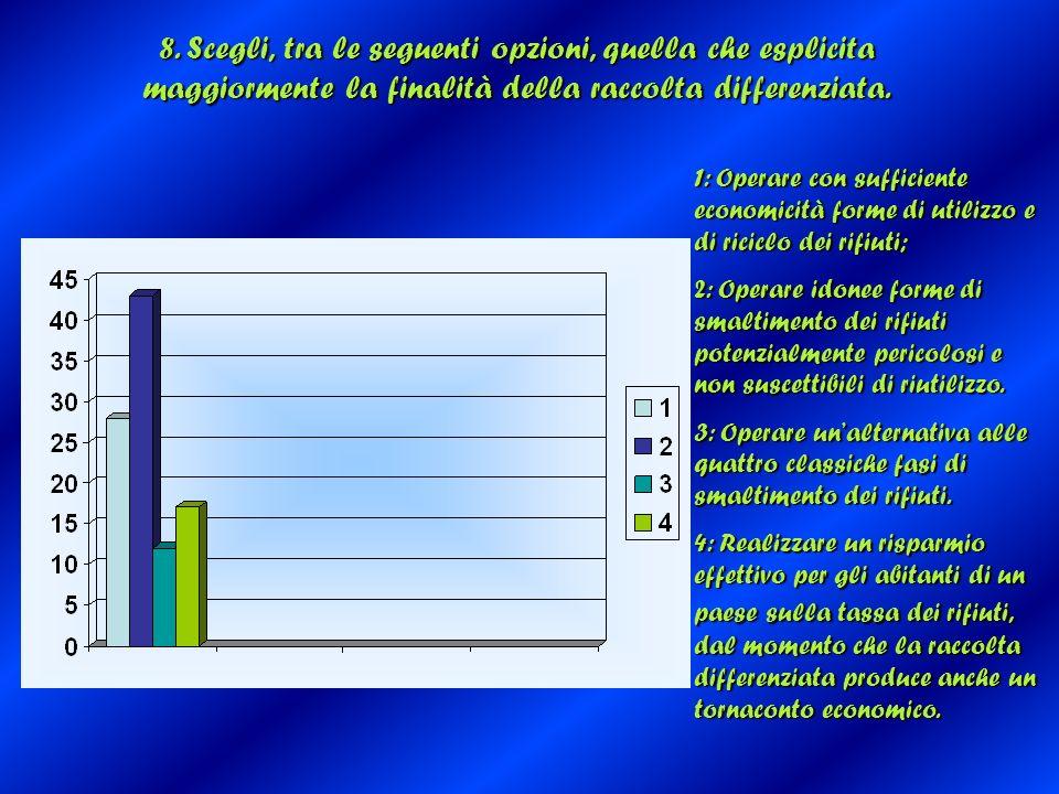 8. Scegli, tra le seguenti opzioni, quella che esplicita maggiormente la finalità della raccolta differenziata. 1: Operare con sufficiente economicità