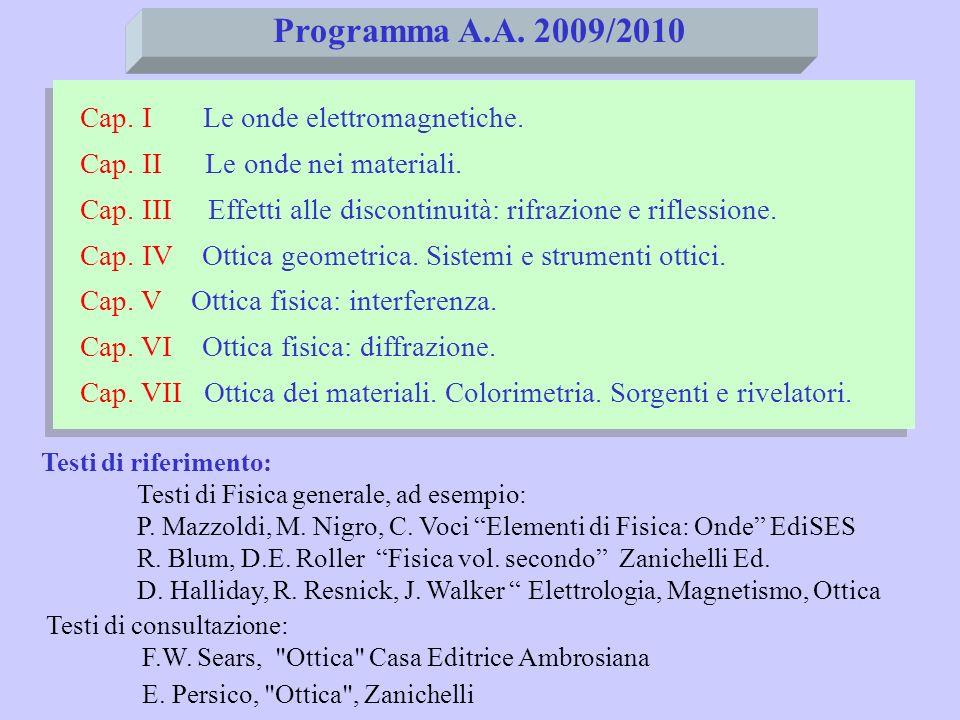 Si opera analogamente con il vettore B e si ottiene: I) II) III) IV) equazioni delle onde tridimensionali per E e B (onde elettromagnetiche) equazioni delle onde tridimensionali per E e B (onde elettromagnetiche) (2) a) b) insieme: